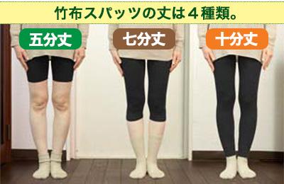 竹布のスパッツの丈は4種類。