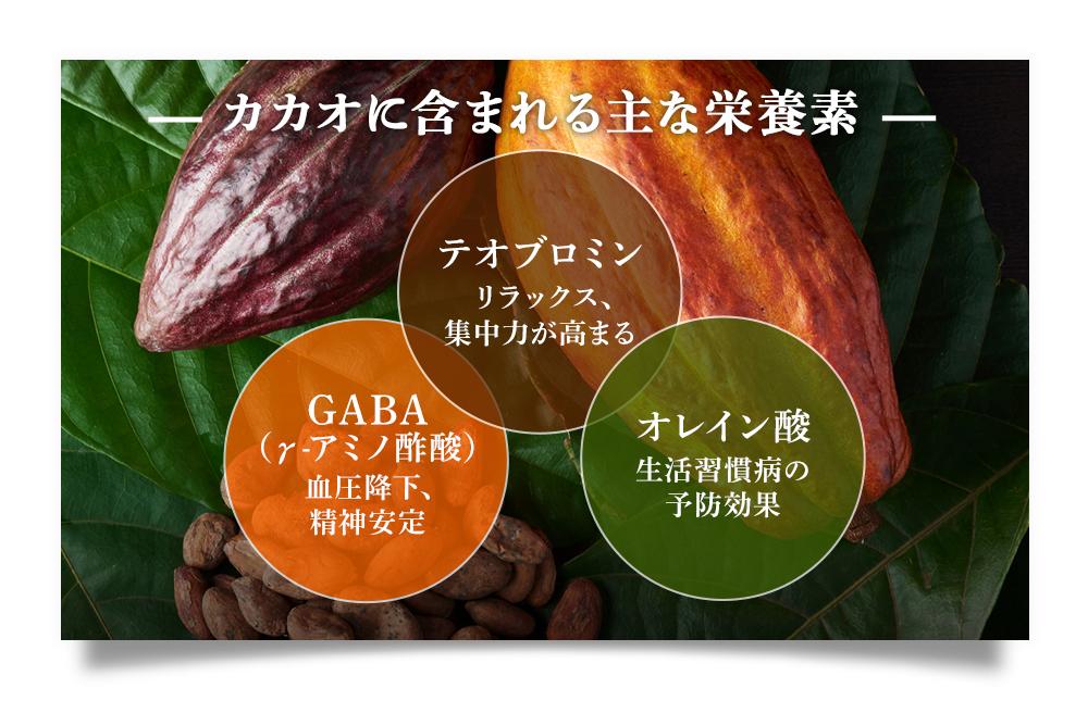 カカオに含まれる主な栄養素は、テオブロミン(リラックス、集中力が高まる)・GABA(γ-アミノ酢酸:血圧降下、精神安定)・オレイン酸(生活習慣病の予防効果)