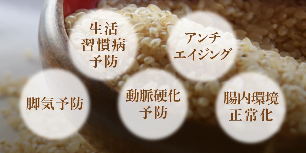 玄米には、生活習慣病予防、アンチエイジング、脚気予防、動脈硬化予防、腸内環境正常化の働きがあります。