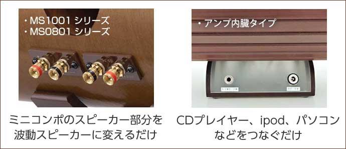 MS1001・MS0801シリーズ:ミニコンポのスピーカー部分を波動スピーカーに変えるだけ。MS-CF307 chouettet!シリーズ:CDプレイヤー、ipod、パソコンなどをつなぐだけ