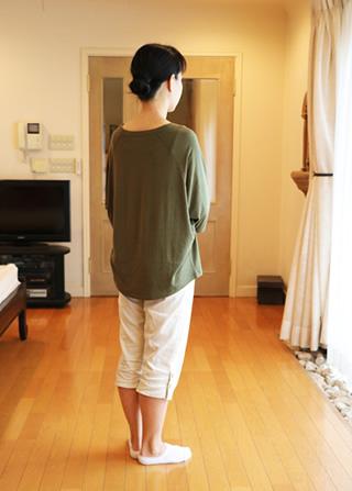 竹のドルマン七分袖Tシャツ 後見頃が長め